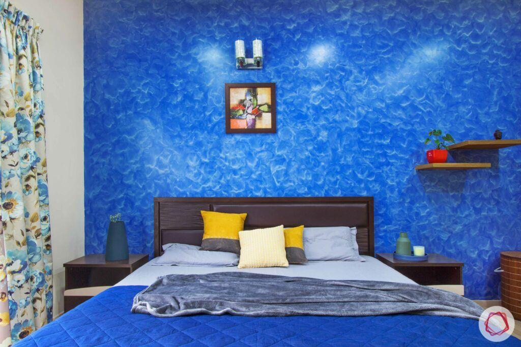 livspace-bangalore-master-bedroom-blue-wall-headboard