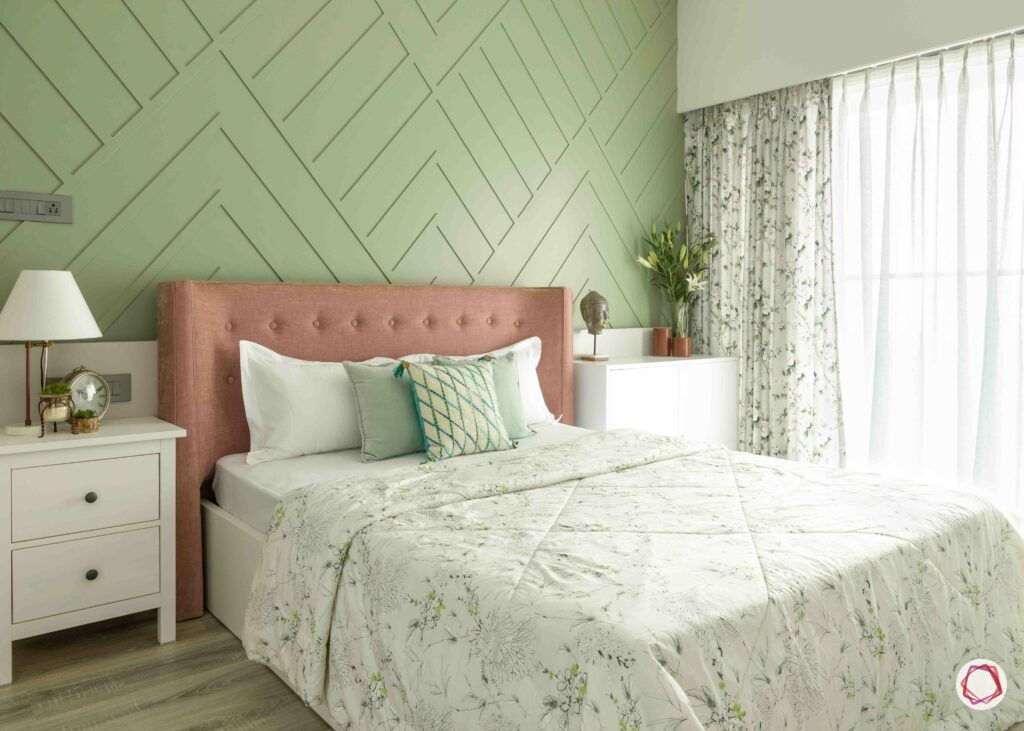 pastel colors-moss green accent wall-bedroom