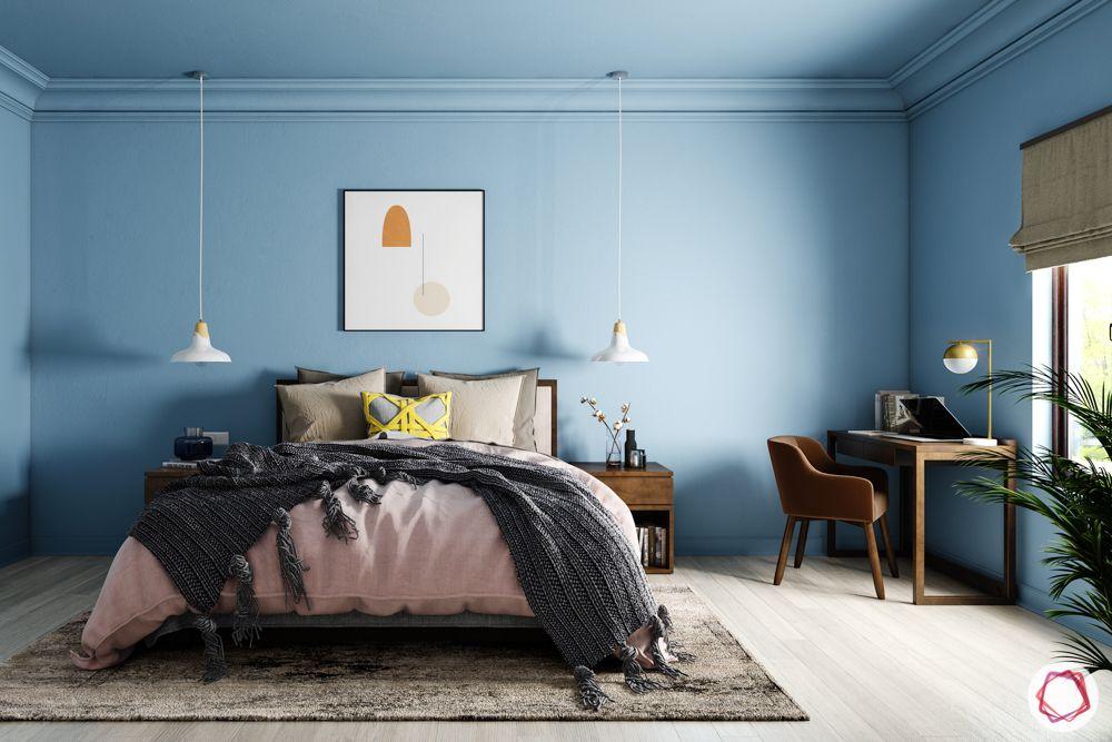 pastel colors-blue bedroom-pink bedspread