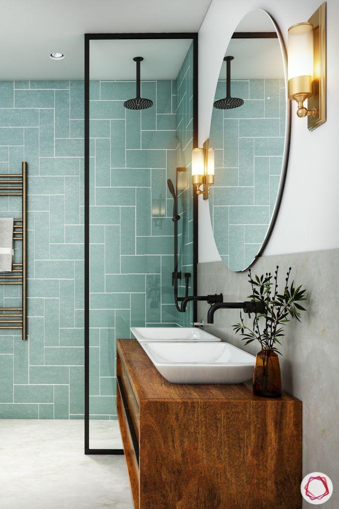 pastel colors-Bathroom-Pastel green tiles-oval mirror-rack