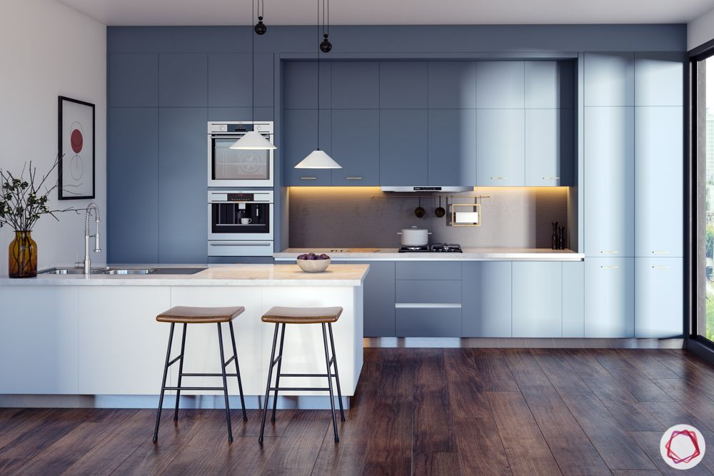 pastel colors-steel blue kitchen cabinets