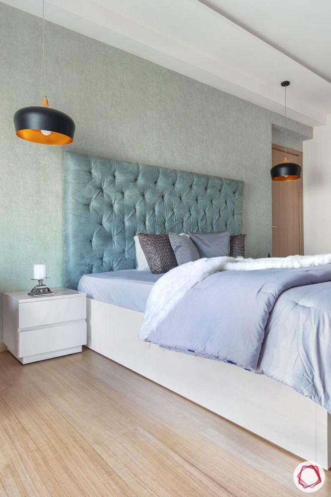 pastel colors-steel gray bedspread-headboard-bedroom