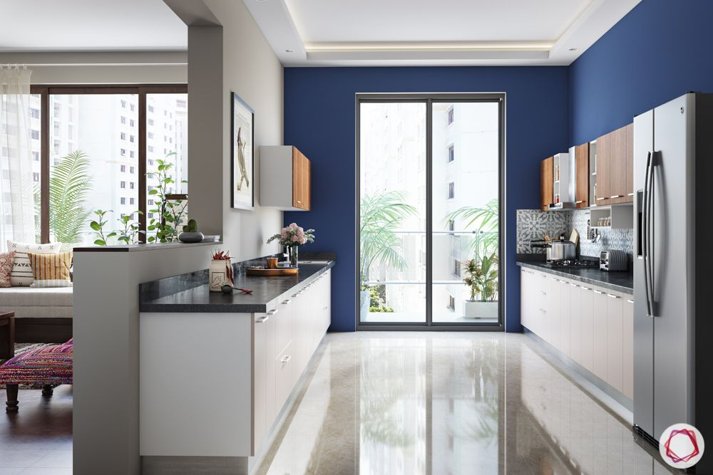 kitchen makeovers-blue paint-wall paint