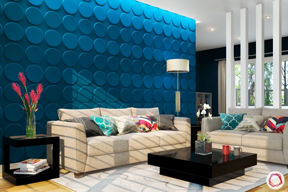 vastu colors for living room-blue walls-neutral sofa designs