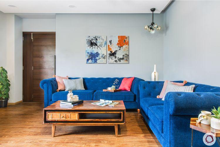 coffee table designs-blue sofa designs