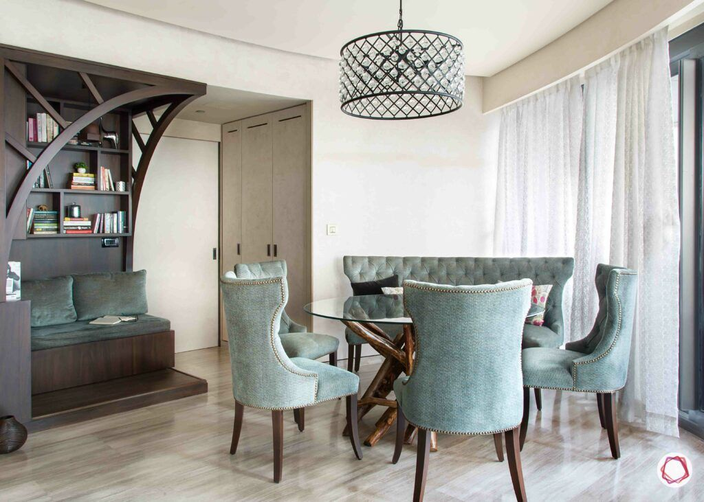 chandeliers-dining-table-bookcase