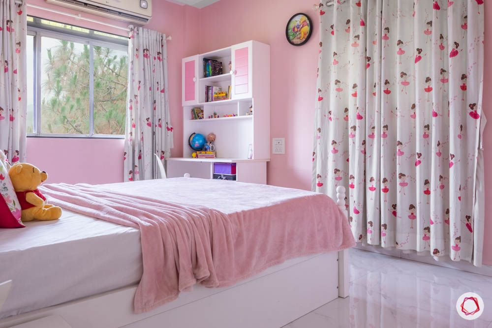 pink wall colour-girls room ideas