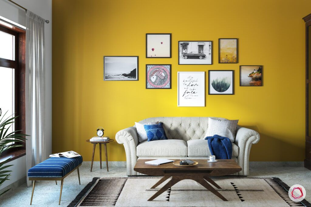 wall painting mood-yellow accent wall