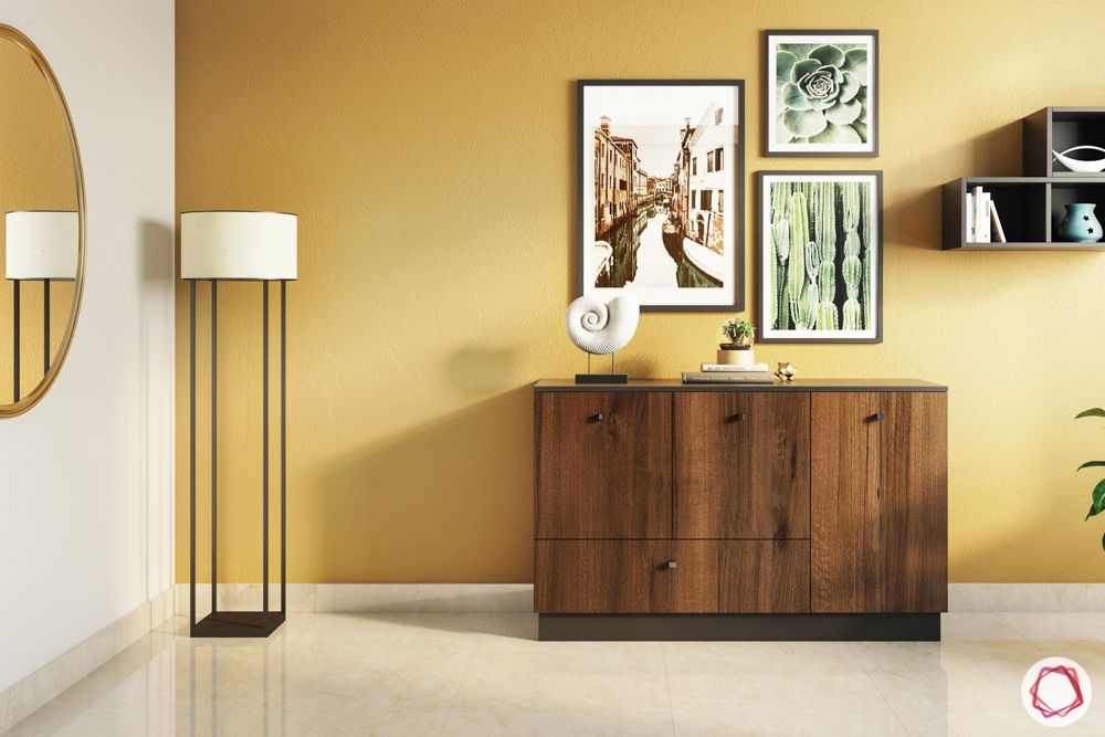 brown wall colour-floor lamp designs