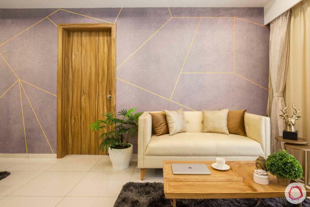 2bhk pune-neutral sofa designs-grey wallpaper