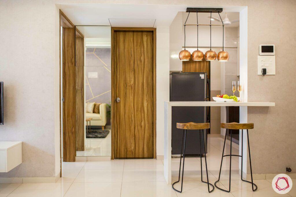 2bhk pune-breakfast counter-wooden door
