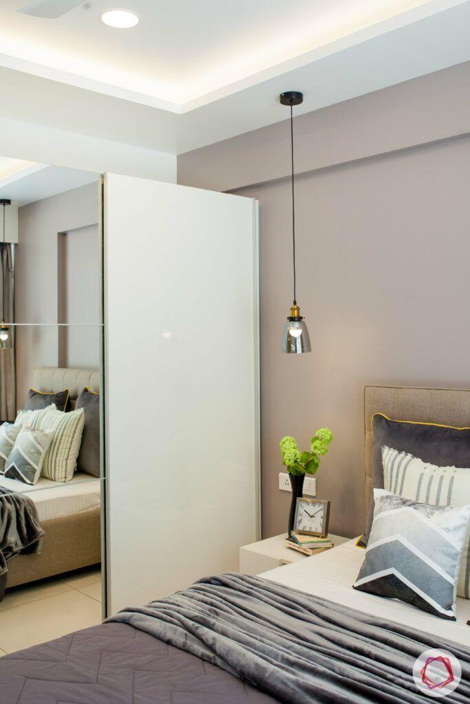 mirror and white wardrobe-pendant lights