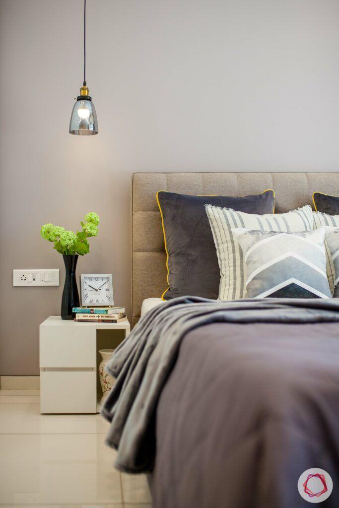 grey pillows-pendant lights