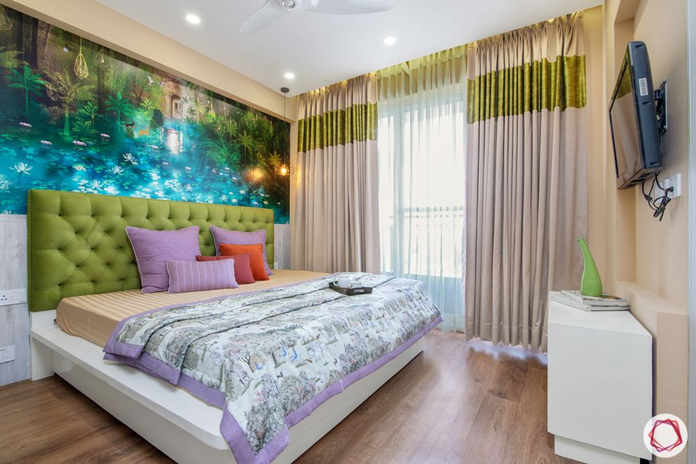 bestech grand spa-colourful bedroom-wallpaper-green headboard-silver cabinet