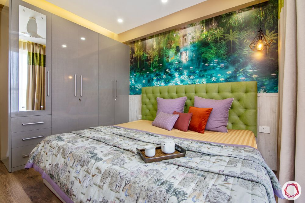 bestech grand spa-colourful wallpaper-green headboard-bedroom