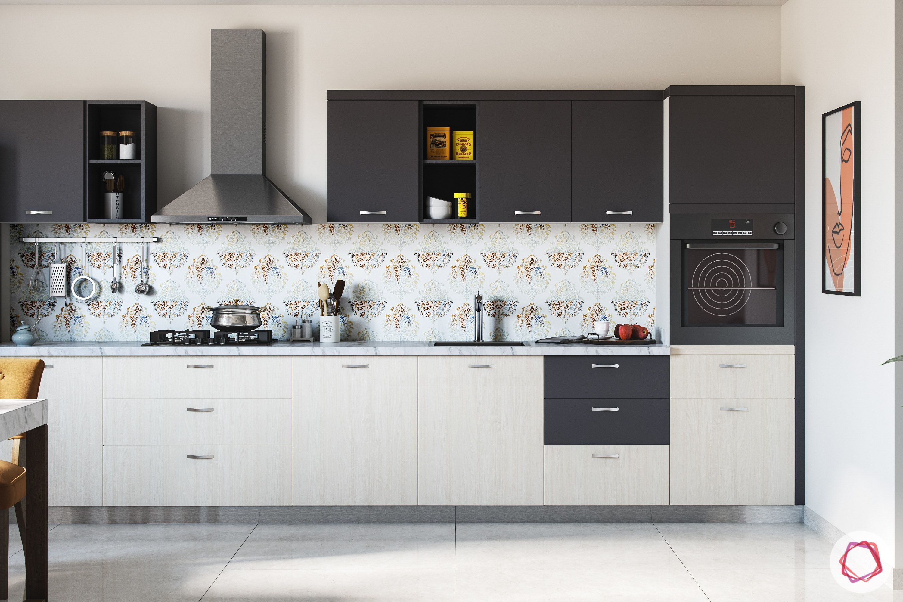 types of kitchen-grey wall cabinets-white base cabinets