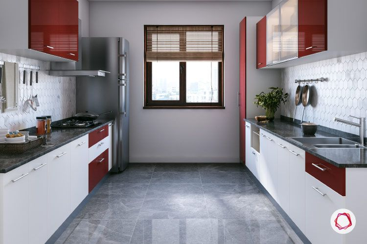 types of kitchen-red and white kitchen cabinet designs