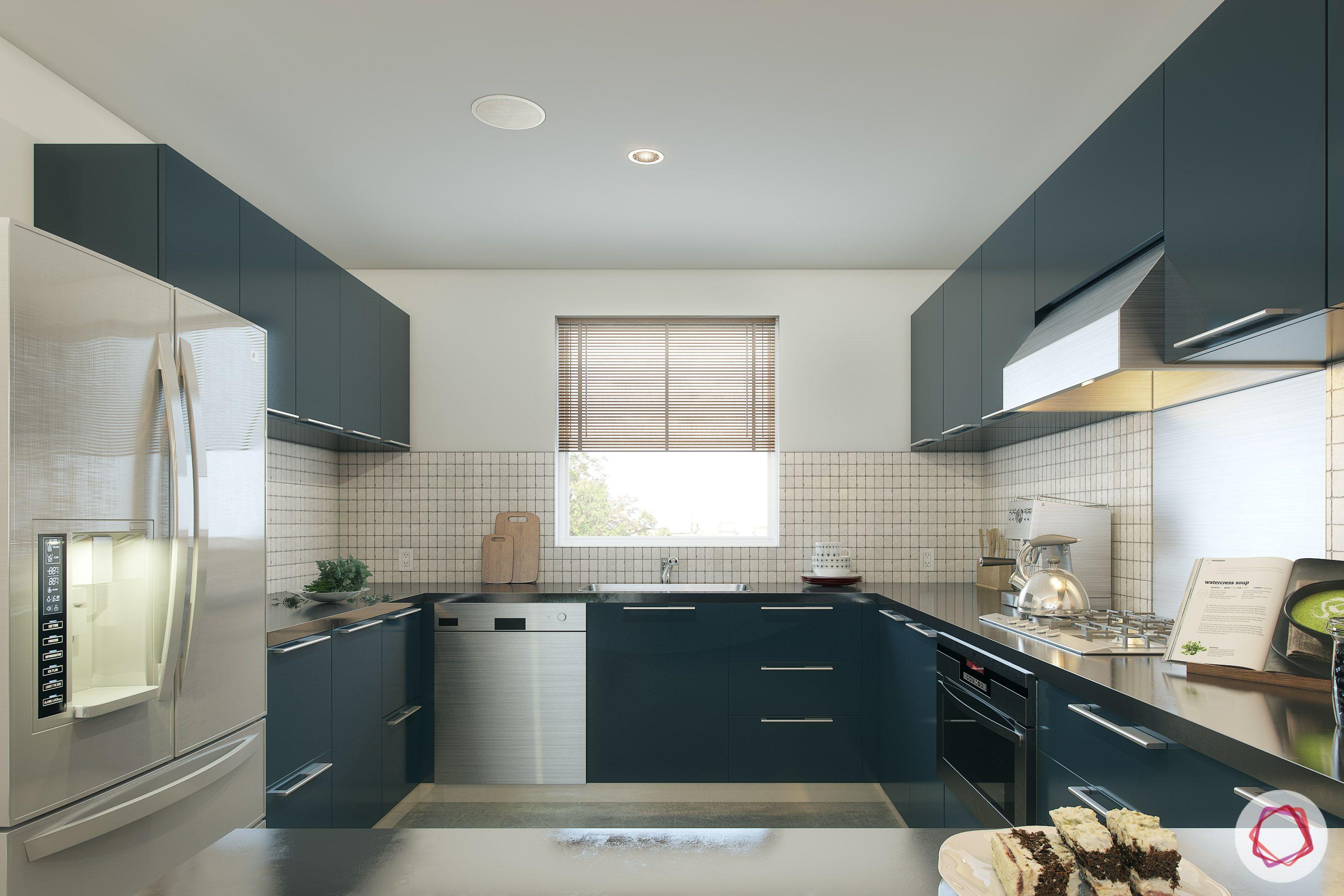 types of kitchen-grey kitchen cabinet designs-fridge