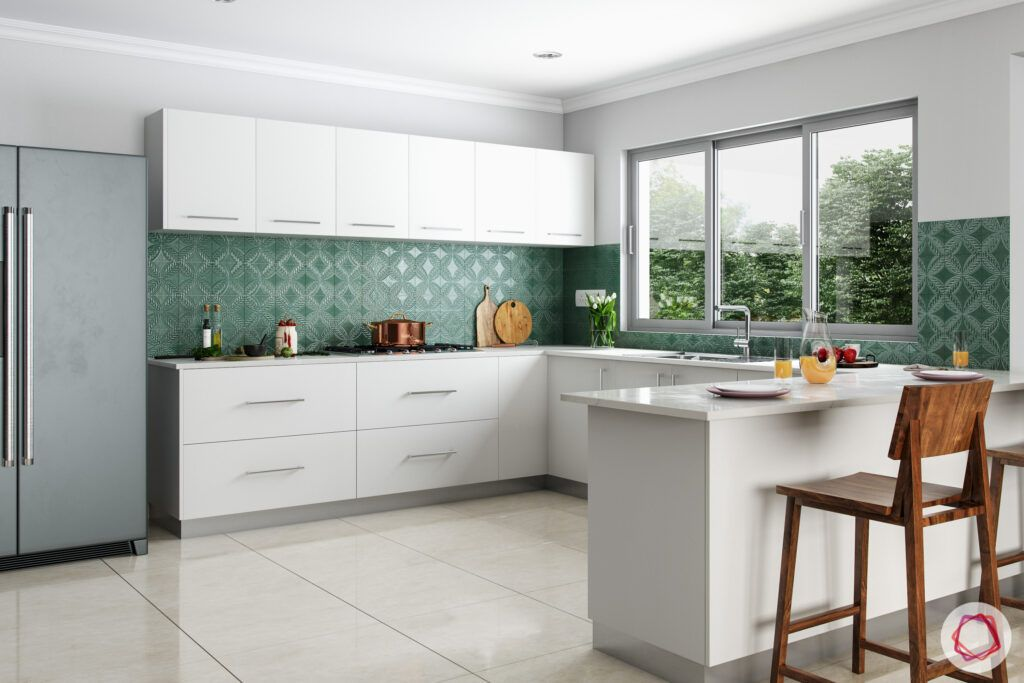 breakfast counters-green backsplash
