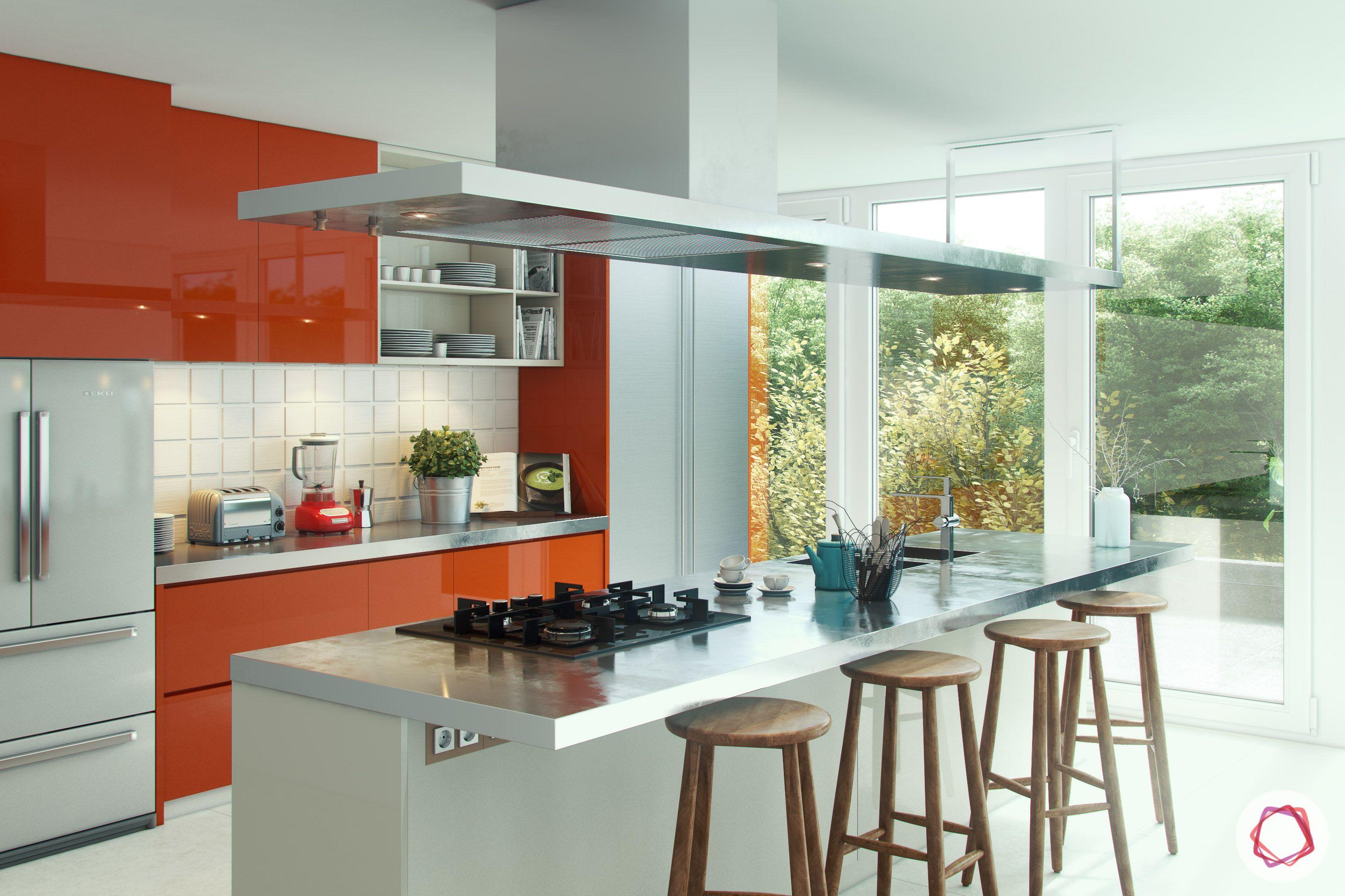 modular kitchen-orange cabinet designs