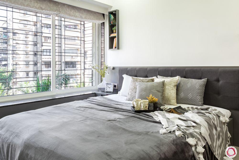 grey headboard designs-wall-to-wall window