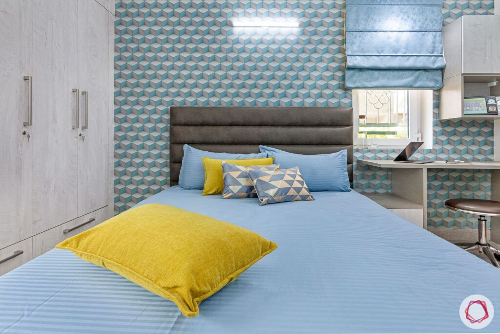 house-renovation-son-bedroom-blue-wallpaper-geometric-wardrobe