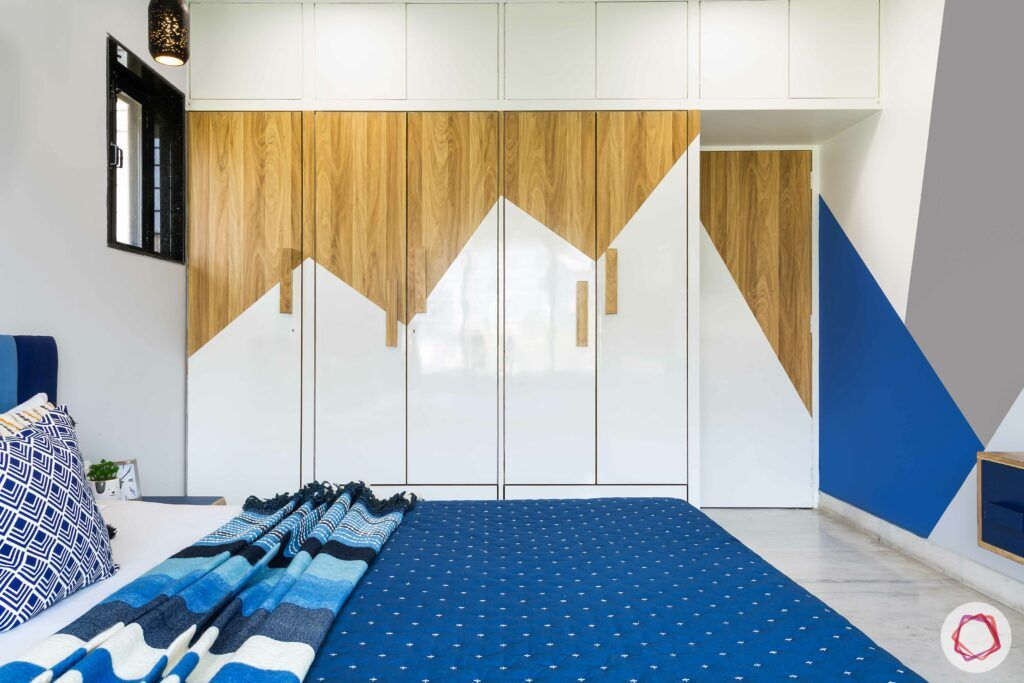 bedroom wardrobe-blue and white designs-wooden wardrobe