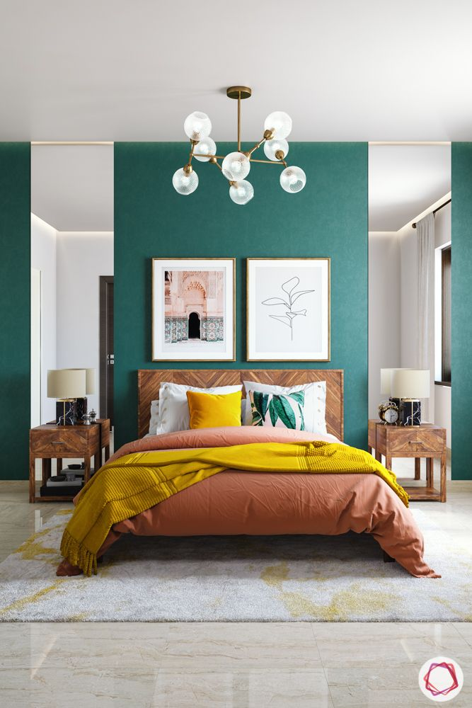 Painting ideas-bedroom accent wall-wooden cabinets