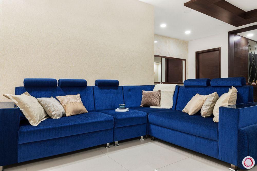 blue sofa designs-wooden ceiling details