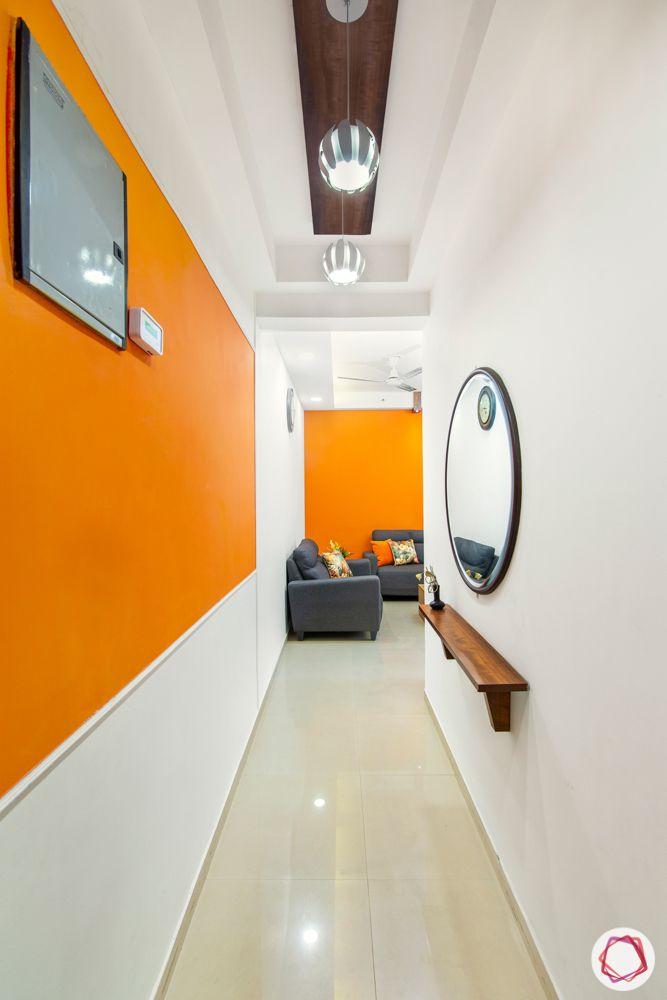 mahagun mywoods-livspace noida-entryway-foyer-wall mounted ledge