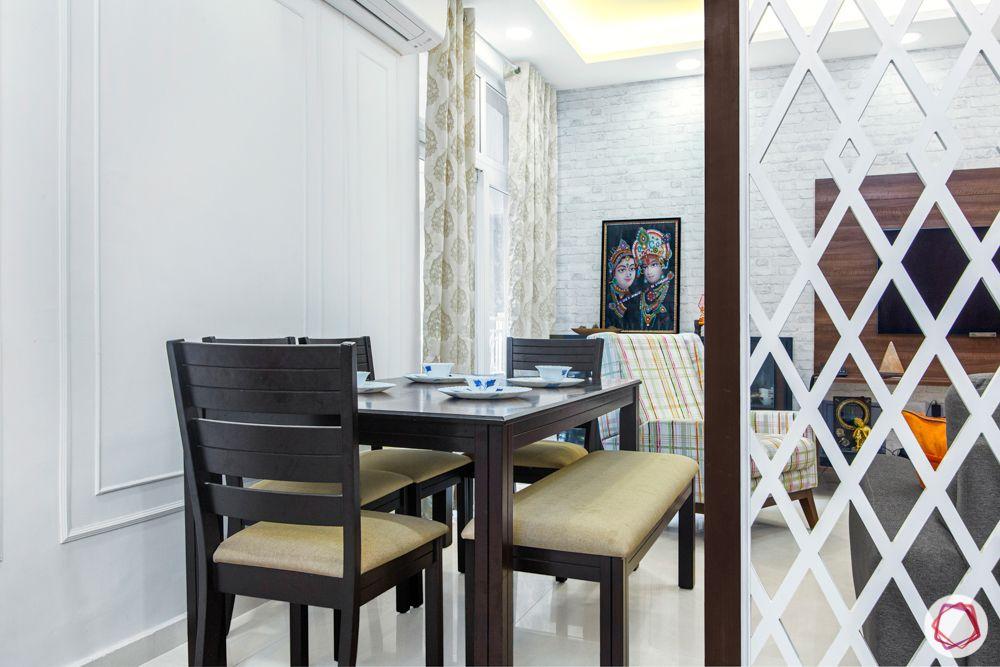 mahagun mywoods-livspace noida-dining room-wooden dining table