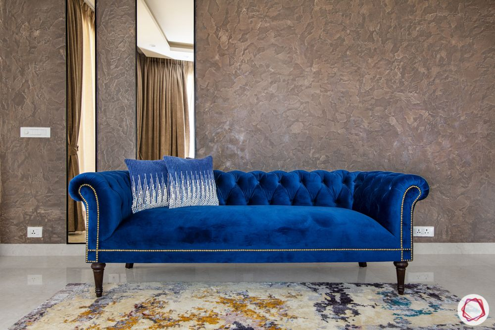 pioneer presidia-blue sofa set-gold textured pain