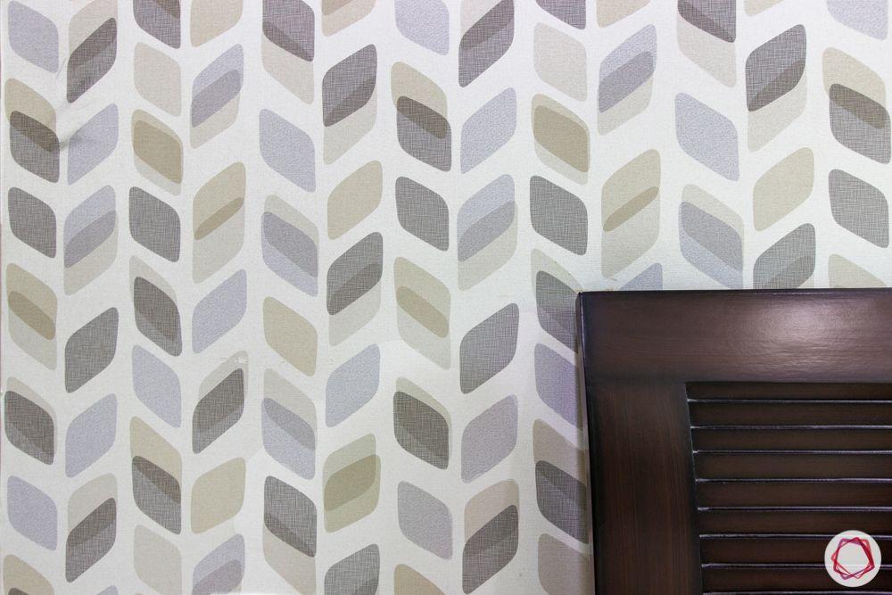 Leaf-patterned wallpaper-headboard