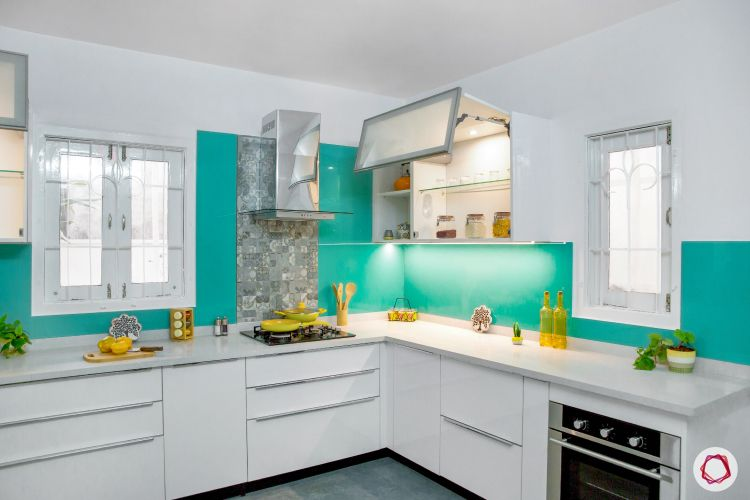 modular kitchen design images-task lighting-frosted glass shutters-white kitchen