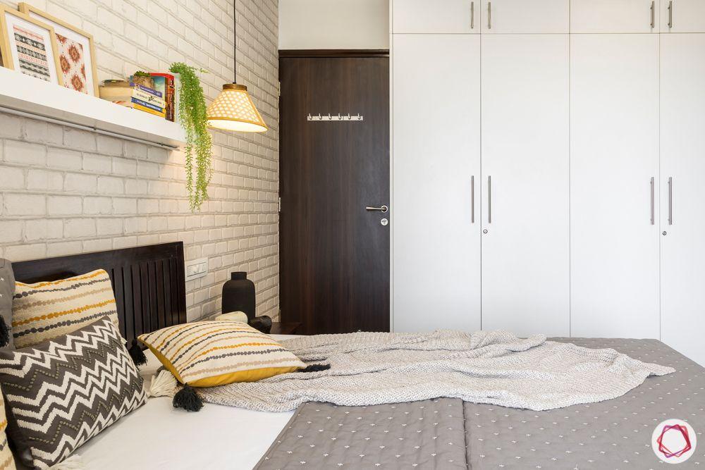 cabinet ideas-white exposed brick wall-laminate finish cabinet