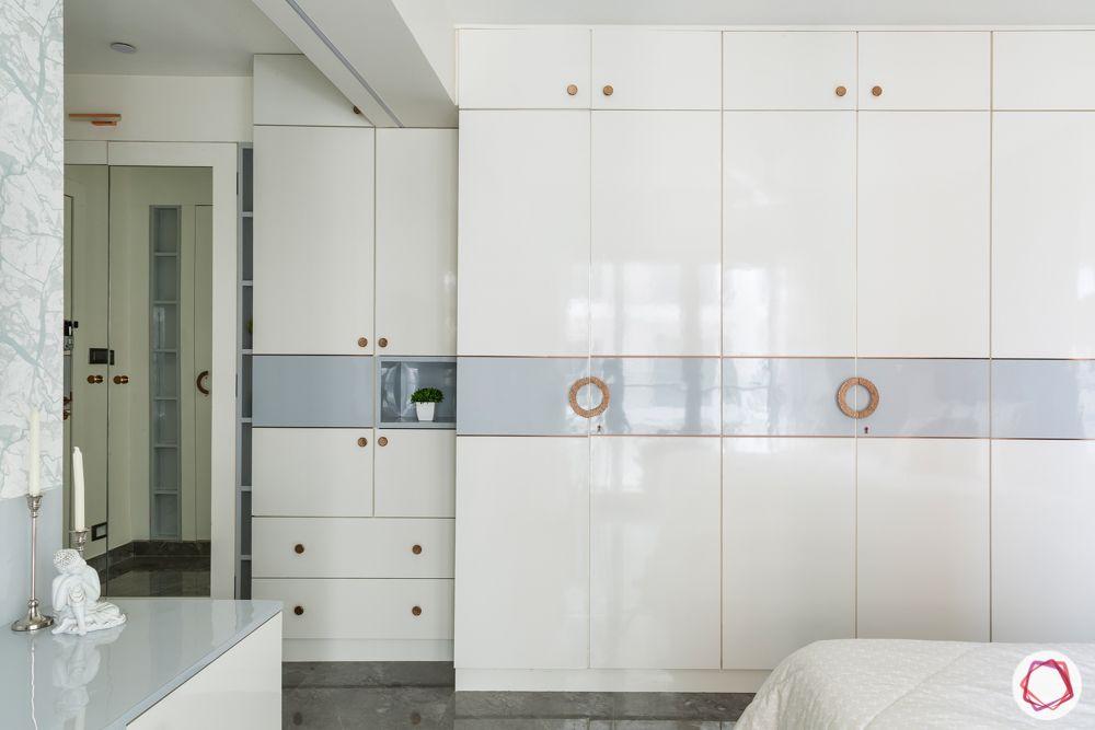 white wardrobe design-acrylic finish wardrobe-floor to ceiling wardrobe