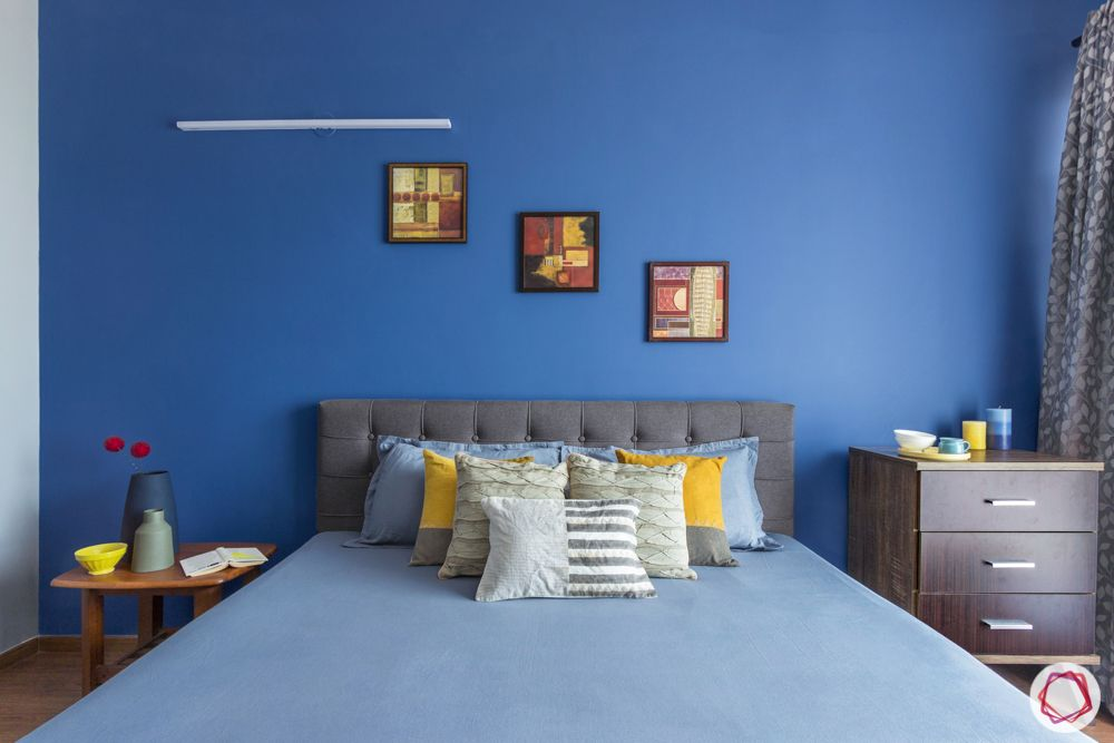 interior design bangalore-3-bhk-in-bangalore-bedroom-blue wall-grey bed