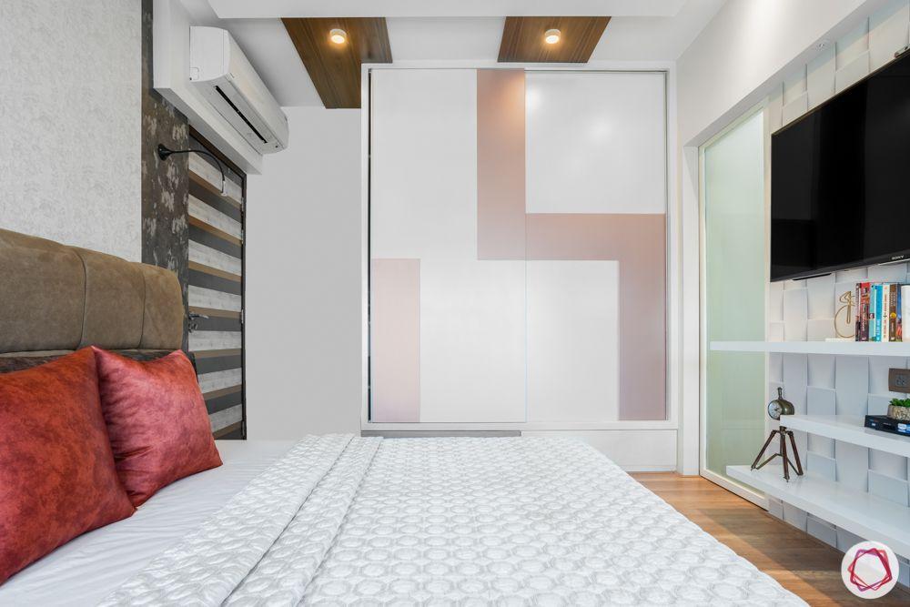 white wardrobe design-sliding shutter-dusty pink pattern