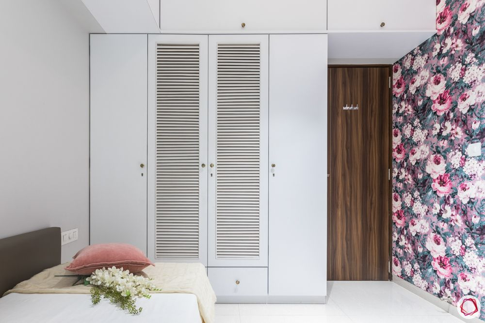white wardrobe designs-vented door-floral wallpaper