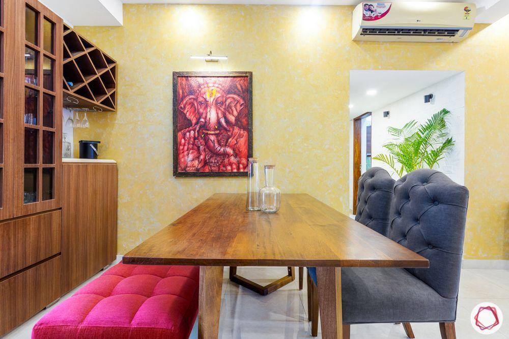 jal vayu vihar-pink bench-ganesha painting-wooden dining table