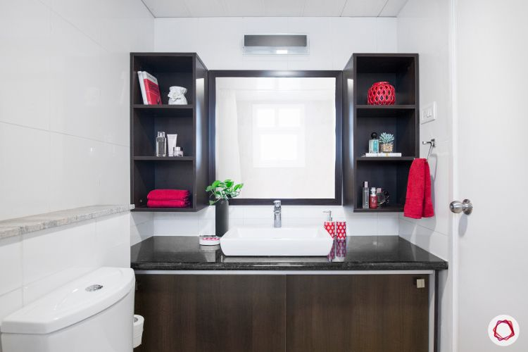 bathroom storage ideas-red bathroom-shelves