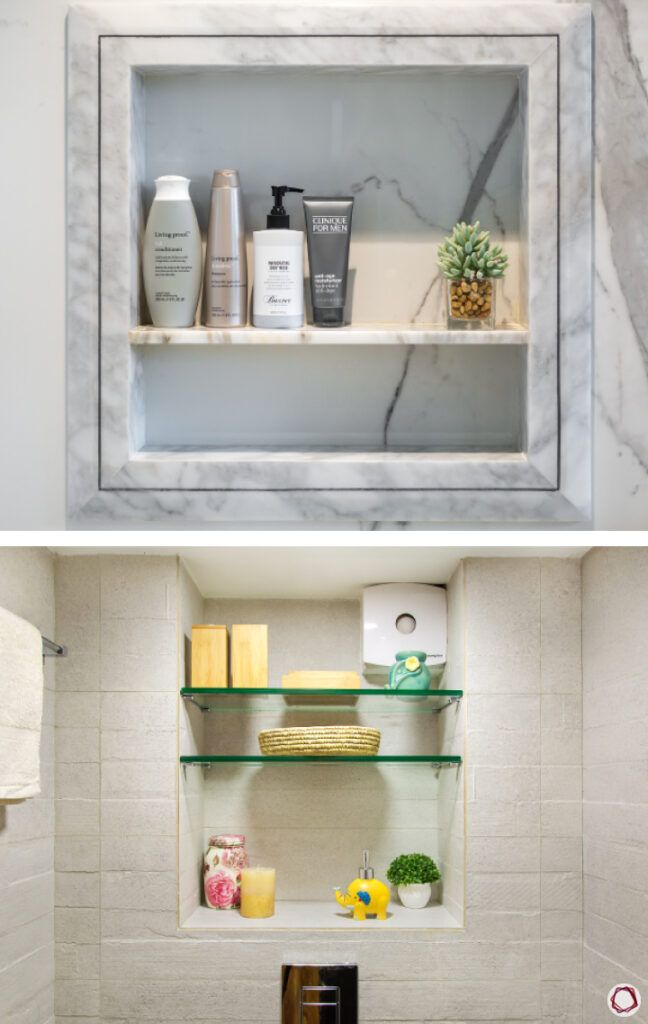 bathroom storage ideas-marble wall-in-built-shelves