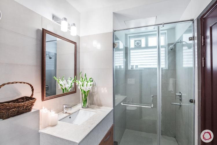 bathroom storage ideas-candles-shower-mirror
