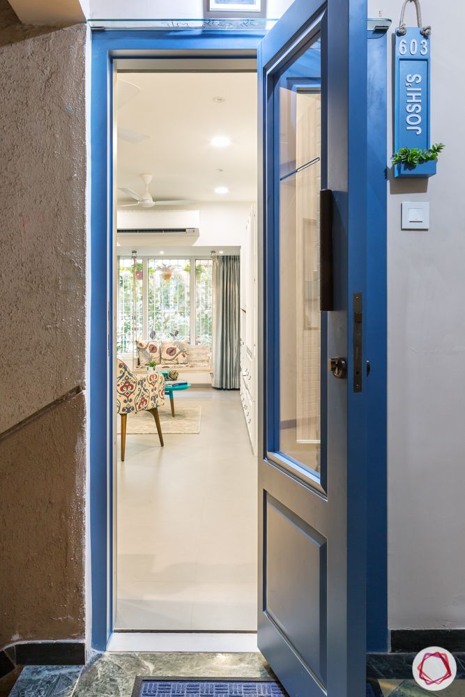 Interiors-in-Mumbai-blue-main-door-nameplate