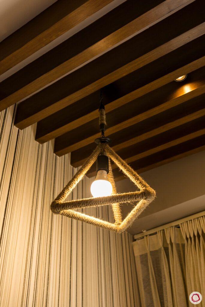 industrial lighting ideas-rope lights-wooden rafter designs