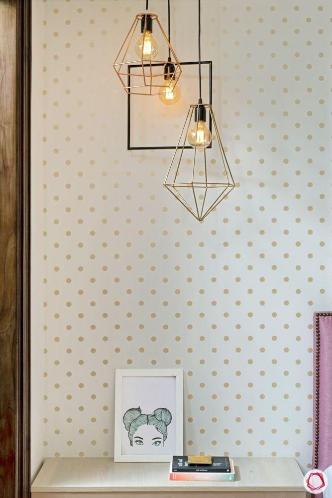 metallic pendant lights-polka dotted wallpaper designs