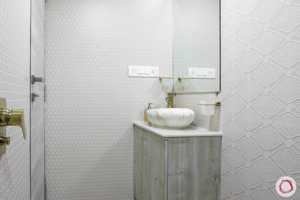 interior design company in mumbai-white bathroom-mosaic tiles-mirror