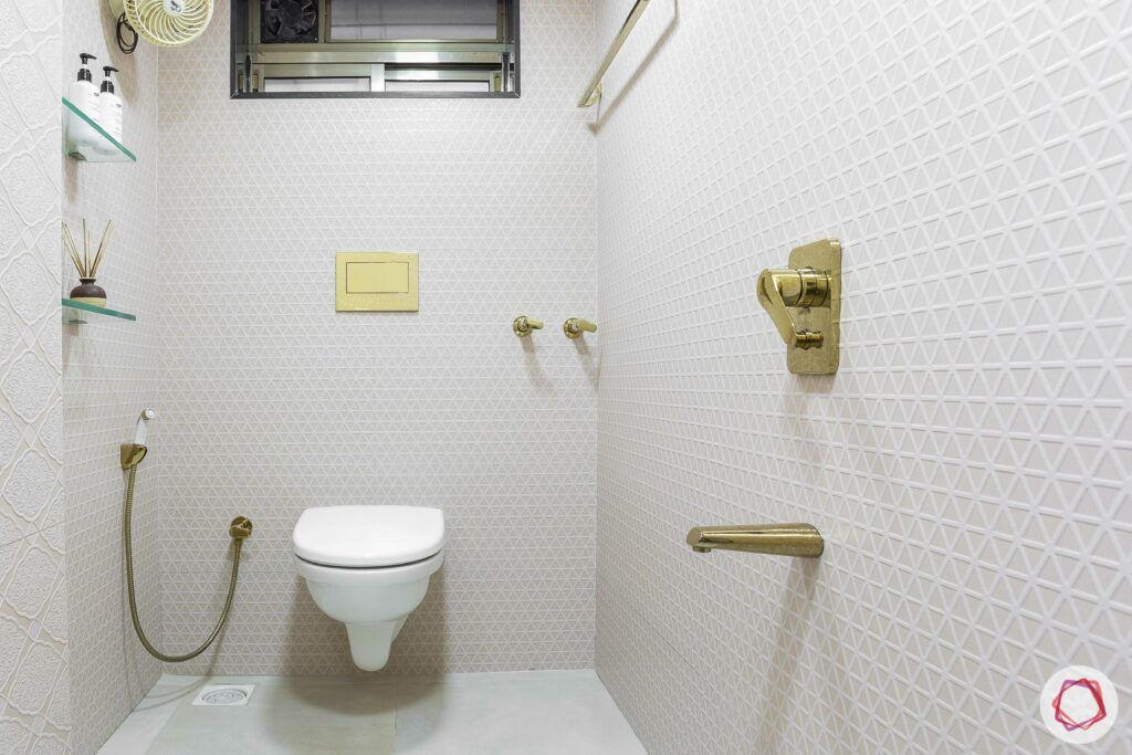 interior design company in mumbai-mosaic tiles-vitrified tiles-golden bathroom accessories