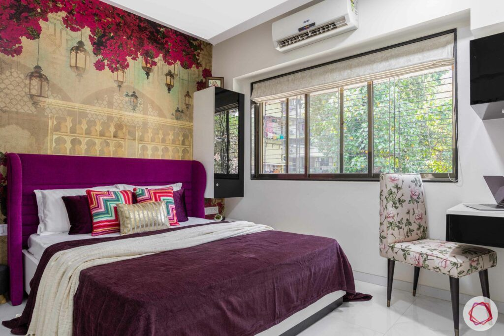 interior design company in mumbai-bedroom-bougainvillea wallpaper-purple headboard-study table