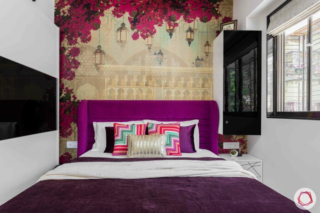 interior design company in mumbai-bougainvillea wallpaper-purple headboard-white wardrobe